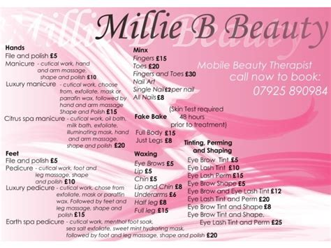 beauty price list york mobile beauty therapist