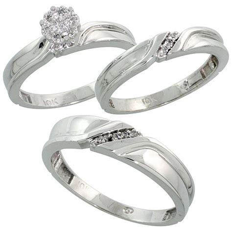 buy 10k white gold trio engagement wedding ring