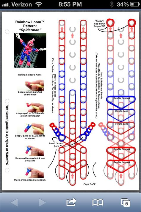 spiderman loom pattern spiderman part 1 rainbow loom pattern rainbow loom