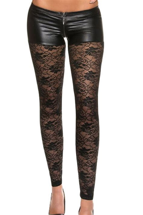 pattern bottom tights black leggings shorts effect and floral pattern lace