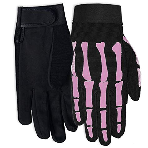 ladies hot pink leather gloves hot leathers womens pink skeleton mechanic gloves black