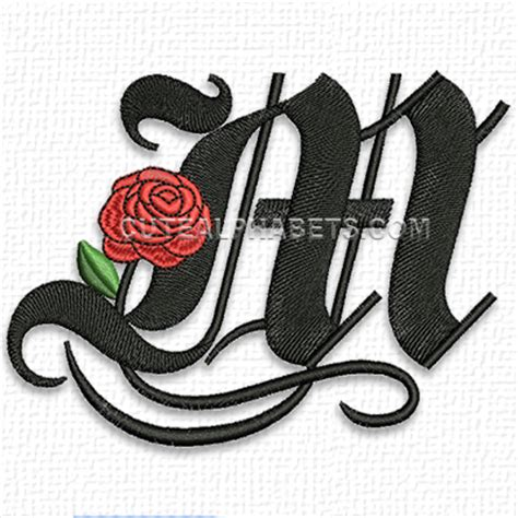 rose pattern font this free embroidery design is the letter m from cute