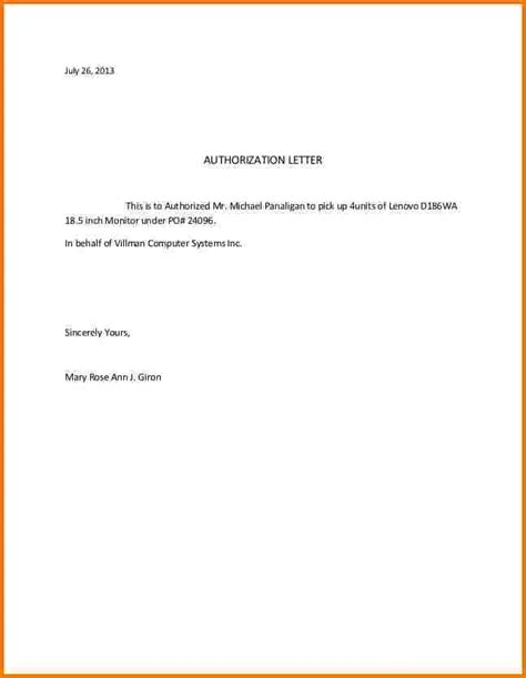 Release Letter Template Ups Sle Of Authorization Letter To Up Passport Letter Of Authorization Sle Format Best