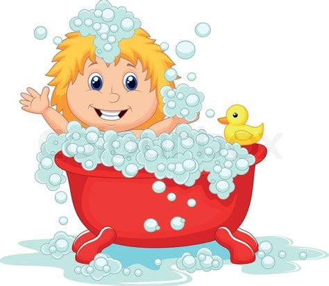 bathtub cartoon girl cartoon bathing in the red bath tub stock vector colourbox