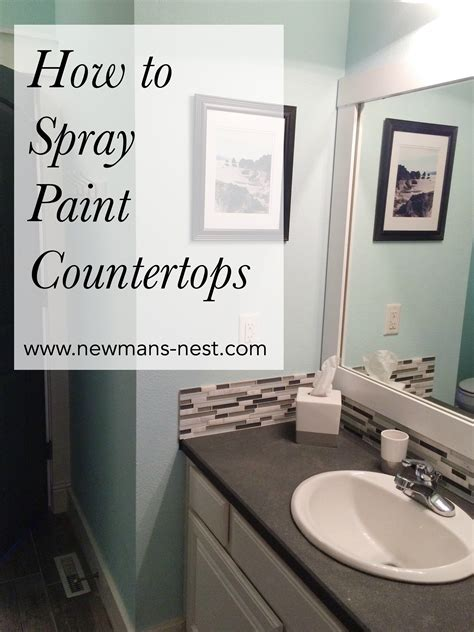 spray paint bathroom countertop for our guest bathroom i wanted an inexpensive upgrade