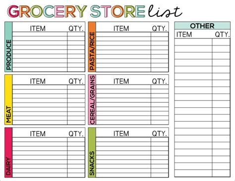 free printable grocery store list 6 best images of simple printable grocery lists blank