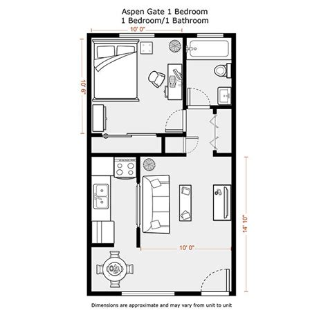 1 Bedroom Apartment Floor Plans 500 Sf Du Apartments One Bedroom Design Layout
