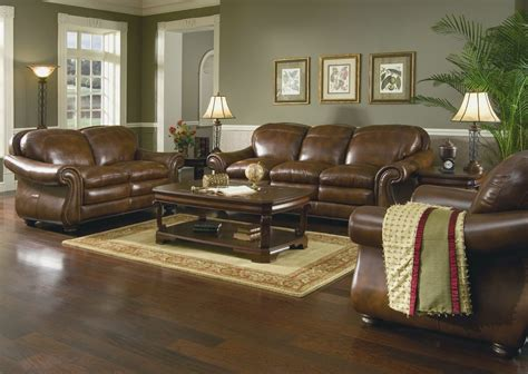 Living Room With Leather Furniture Traditional Style With Brown Leather Living Room Furniture The Best Living Room