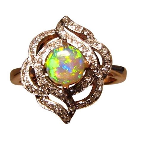 opal ring with diamonds 14k gold colorful gem