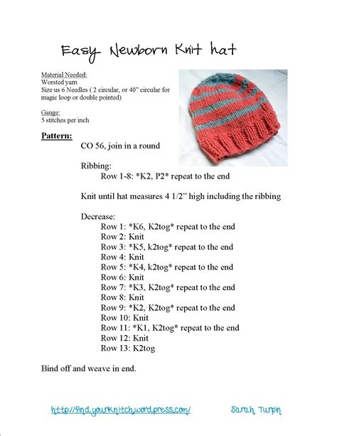 easy knit newborn hat pattern find your knitch a compilation of knitting and crochet