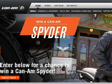 Can Am Giveaway - the win a can am spyder vehicle sweepstakes sweepstakes fanatics