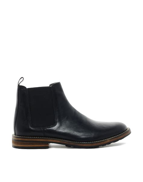 asos chelsea boots mens asos chelsea boots with commando sole in black for lyst