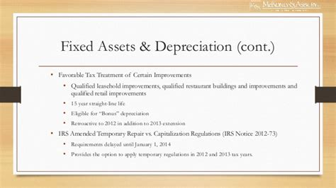 section 168 bonus depreciation mckonly asbury webinar 2013 tax update fiscal cliff