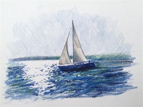 simple boat drawn sailing boat simple watercolor pencil and in color