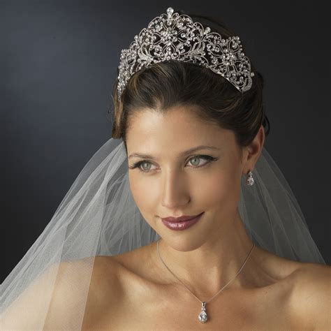 Wedding Hairstyles Through The Ages by Antique Silver Rhodium Royal Bridal Tiara Bridal