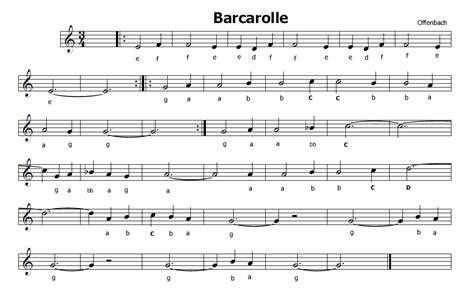 sei ottavi testo musica e spartiti gratis per flauto dolce barcarola di