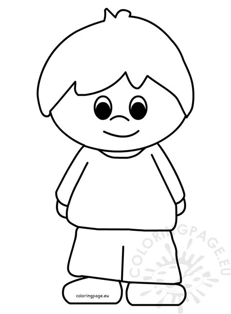 little boy cartoon vector coloring page