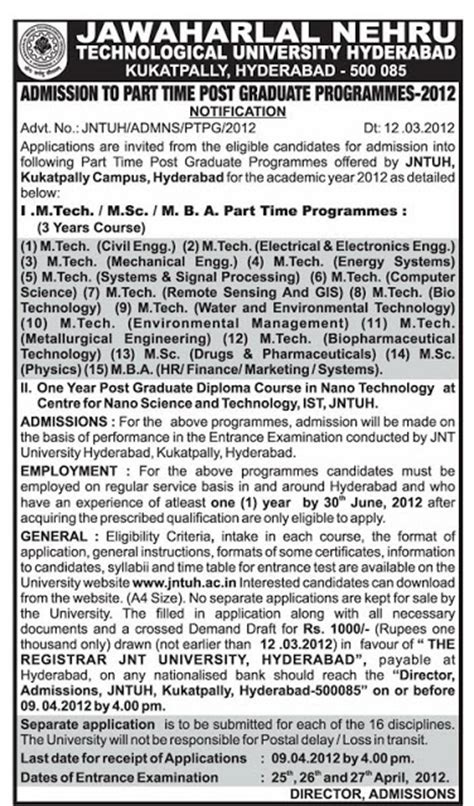 Part Time Mba Colleges In Hyderabad by Jntu Hyderabad Pg Admissions Part Time M Tech M Sc Mba