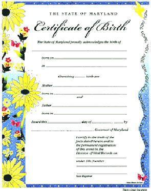 Birth Records Maryland Birthcert