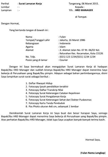 Lamaran Kerja Docx by Dokumen Pekerjaan Contoh Surat Lamaran Kerja Kurir