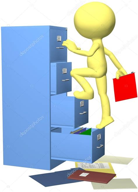 Plans For Bookcase Office Worker Files Folder In 3d Filing Cabinet Stock
