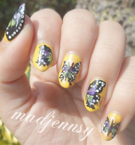 purple green butterfly nail art   paint