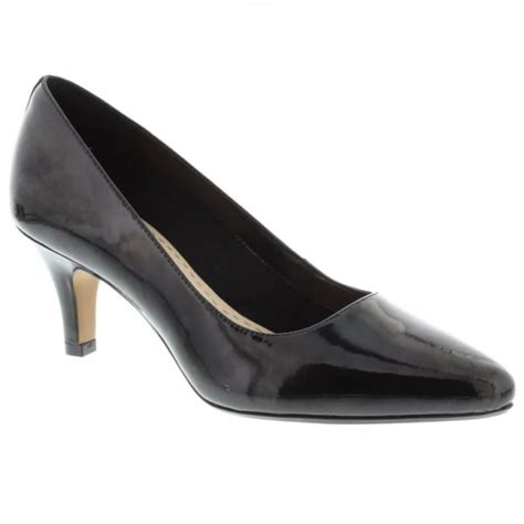 clarks womens isidora black patent leather court shoes