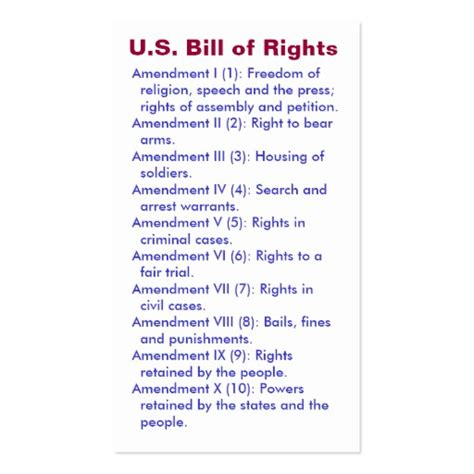bill of rights section 1 explanation u s bill of rights first 10 amendments business card