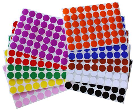 colored labels 17mm 3 4 inch diameter color dot stickers small