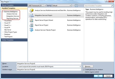 Visual Studio 2010 Business Intelligence Templates what is the issue with ssdt