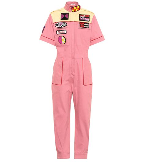 Miu Jumpsuit lyst miu miu embellished cotton blend jumpsuit in pink