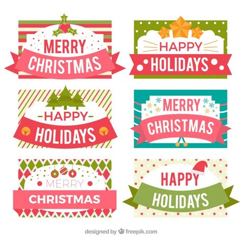 merry christmas  happy holidays labels vector