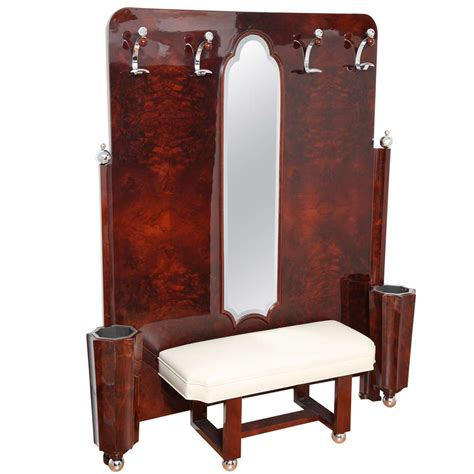 coat stand with bench machine age art deco umbrella stand with mirror bench and coat hooks at 1stdibs
