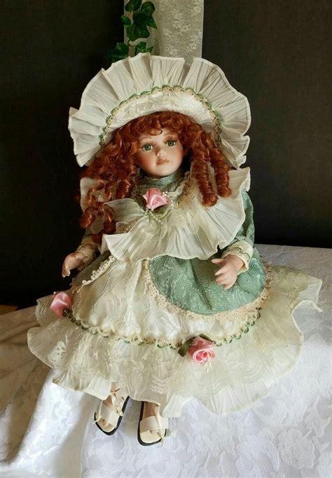 porcelain doll green dress vintage porcelain doll doll in green dress