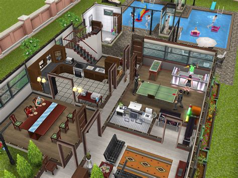 three homes built by dev in the sims freeplay