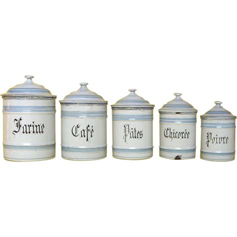 Kitchen Canisters Sale Sale Set Of Five Graniteware Kitchen Canisters Early