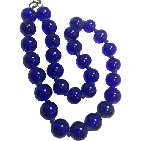 large glass bead necklace vintage handknotted cobalt blue glass beaded necklace