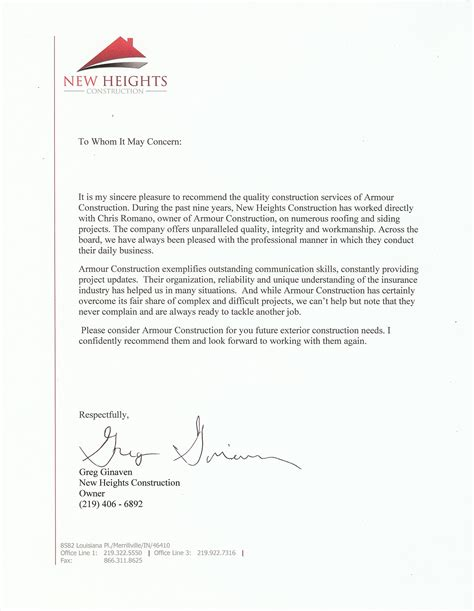 Letter Of Reference For Business Services recommendation business letter best template collection