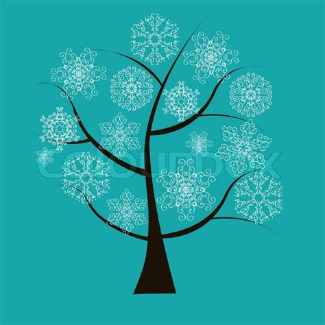 winter tree from snowflakes by the vector colourbox beautiful winter tree in blue background with white snowflakes stock vector colourbox