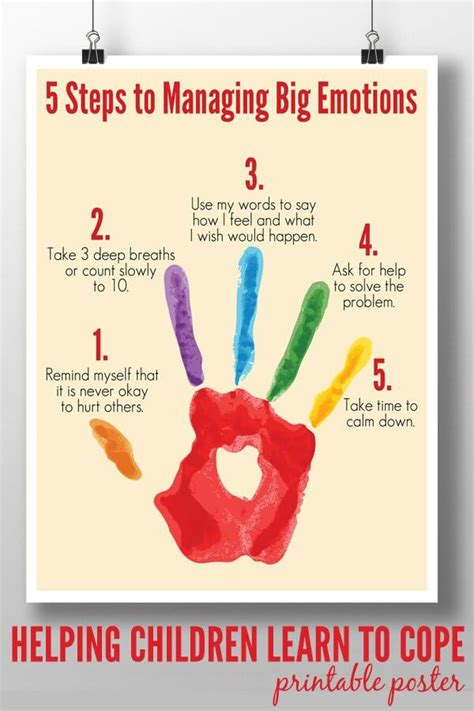 free printable emotions poster 5 steps to managing big emotions printable poster