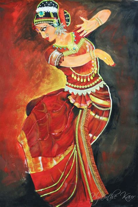 biography of indian classical artist bharatanatyam dancer acrylic painting jewelled by hykaur