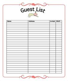 Wedding Guest List Template List Template Download Free Documents In Word Pdf