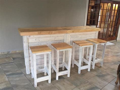 Bar Stools Made Out Of Pallets by Bar Counter With Stools From Pallet Wood Pallet Ideas