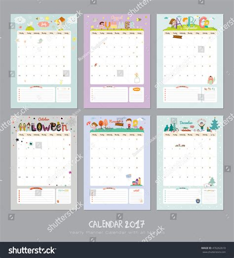 summer calendar template calendar template 2017 yearly planner stock vector