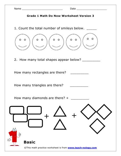 worksheet shapes grade 1 do now math grade 1 basic version 3
