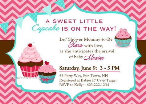 Cupcake Baby Shower Invitations Template   Resume Builder