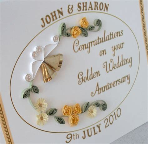 Handmade 50th Anniversary Cards - handmade 50th anniversary card paper quilling golden