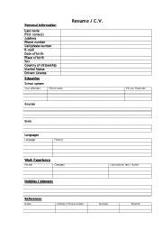 Resume Application Worksheet Worksheet Cv Resume Blanc Form