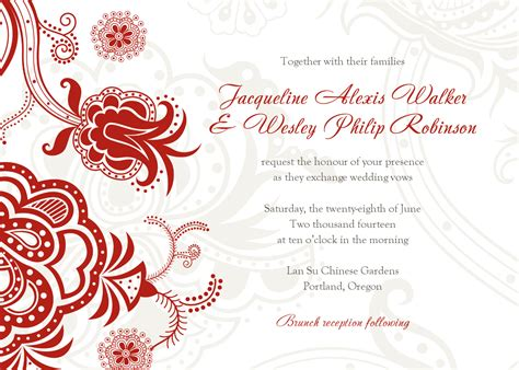 wedding invitation design red motif luxury wedding invitations card templates with plain white