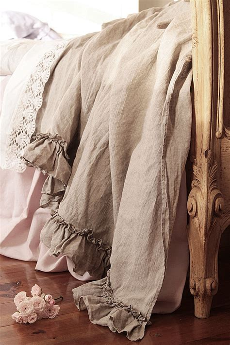 linen ruffles bed scarf diane vintage style